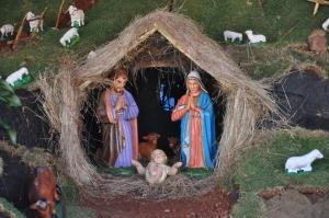 Nativity scene showing the friendly beasts