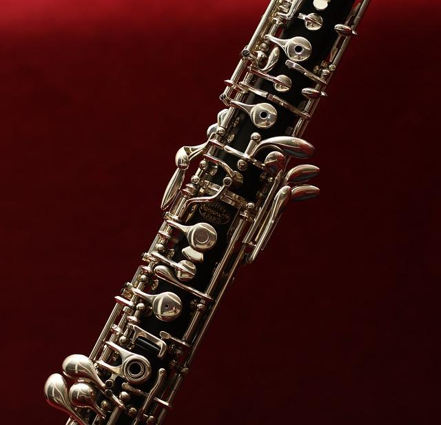 Oboe on a red background