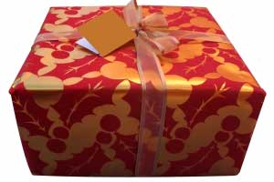 A gift box, tied in a bow